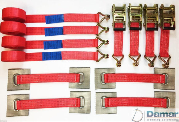 Recovery Ratchet Alloy Wheel Straps Trailer  x 4 (RED) - Damar Webbing Solutions Ltd