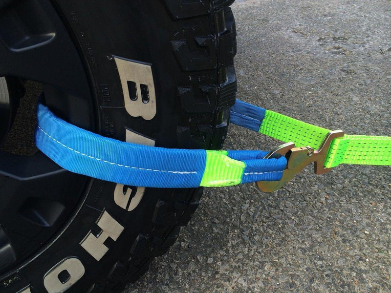 Recovery Ratchet Hi Vis Green Alloy Wheel Safety Straps Trailer Snap Hooks x 2 - Damar Webbing Solutions Ltd