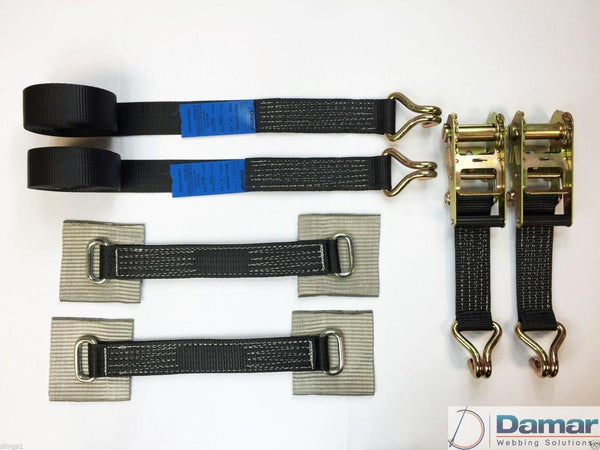 2 x 4mtr recovery alloy wheel ratchet transporter trailer straps strop Black - Damar Webbing Solutions Ltd