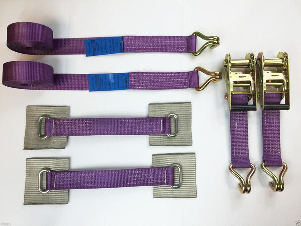2 x 4mtr recovery alloy wheel ratchet transporter trailer straps strop Purple - Damar Webbing Solutions Ltd