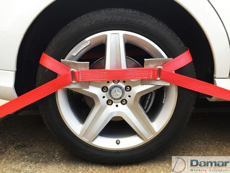 2 x 4mtr recovery alloy wheel ratchet transporter trailer straps strop red - Damar Webbing Solutions Ltd