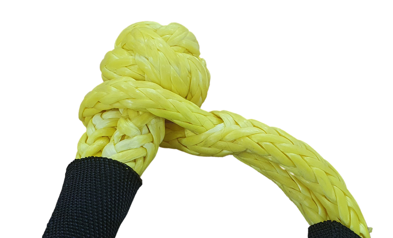 Soft shackle 10mm x 528mm YELLOW UHMWPE with 14175kgs MBL - Damar Webbing Solutions Ltd