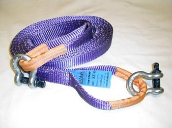 Tow strap 4.5mtr 14ton with tested shackles - Damar Webbing Solutions Ltd