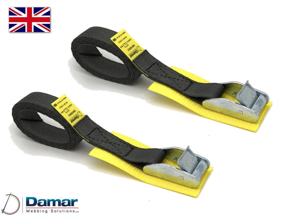 Quantity 2 - Cam buckle tie down straps With protection pad 25mm wide 2mtr long BLACK - Damar Webbing Solutions Ltd