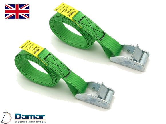 Quantity 2 - Cam buckle tie down straps 25mm wide 2mtr long GREEN - Damar Webbing Solutions Ltd