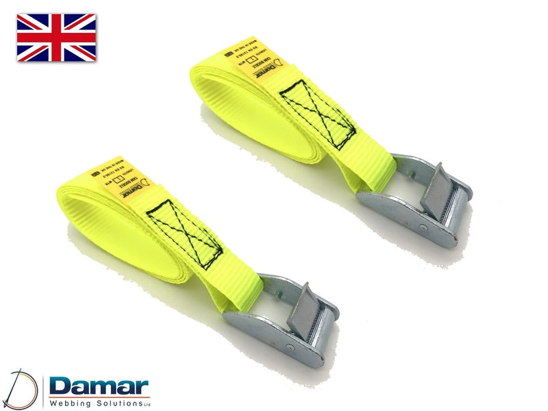 Quantity 2 - Cam buckle tie down straps 25mm wide 2mtr long HI VIS YELLOW - Damar Webbing Solutions Ltd