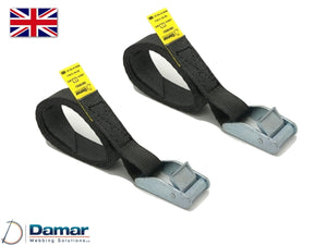 Quantity 2 - Cam buckle tie down straps 25mm wide 2mtr long BLACK - Damar Webbing Solutions Ltd