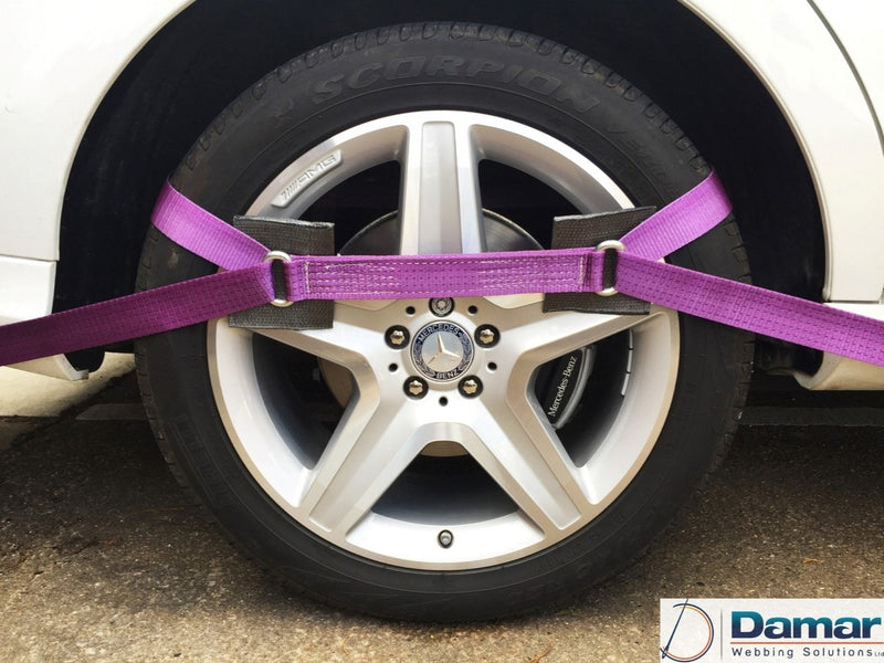 Vehicle Transporter Recovery Straps Violet small Pad x 4 - Damar Webbing Solutions Ltd