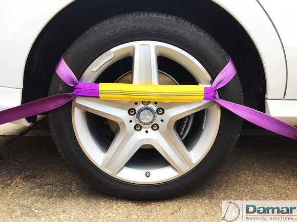 Vehicle Transporter Recovery Straps Violet soft links x 4 - Damar Webbing Solutions Ltd