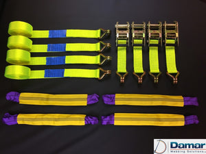 Vehicle Transporter Recovery Straps Hi Vis Yellow soft links x 4 - Damar Webbing Solutions Ltd