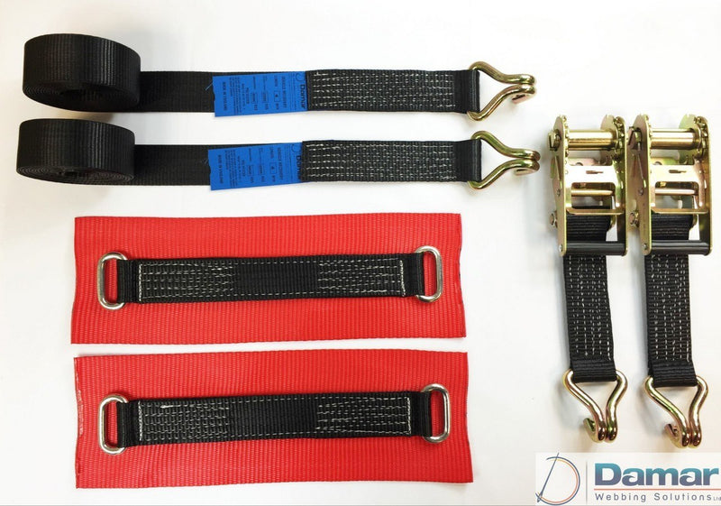 Vehicle Transporter Recovery Straps Black Big Pads x 2 - Damar Webbing Solutions Ltd