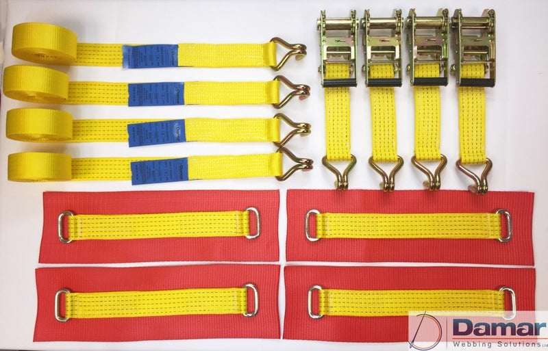 Vehicle Transporter Recovery Straps Yellow Big Pads x 4 - Damar Webbing Solutions Ltd