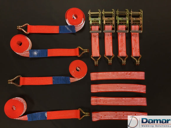 Vehicle Transporter Recovery Straps REFLECTIVE orange flat links x 4 - Damar Webbing Solutions Ltd