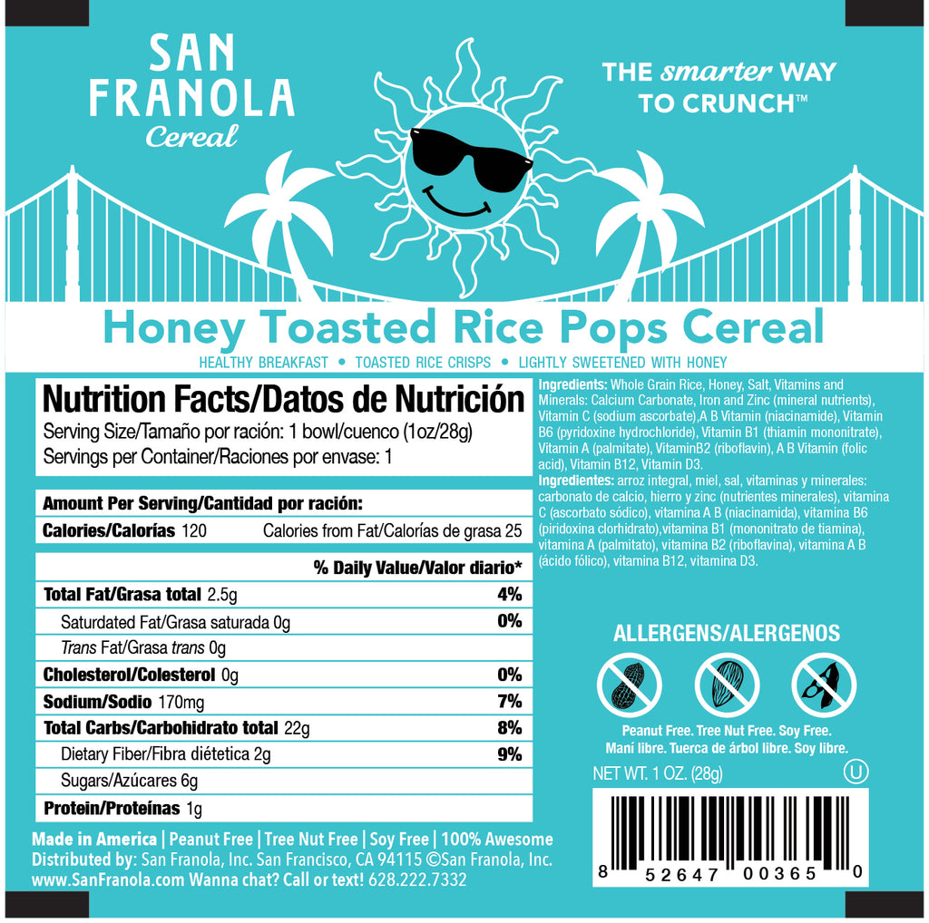 Honey Toasted Rice Pops Cereal: 1oz/1WG and 2oz/2WG Cereal Bowls