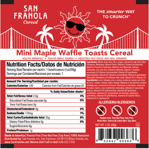 Mini Maple Waffle Toasts Cereal: 1oz/1WG and 2oz/2WG Cereal Bowls