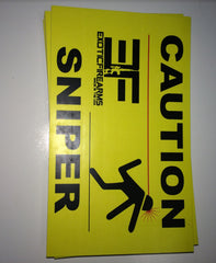 Caution Sniper Sticker