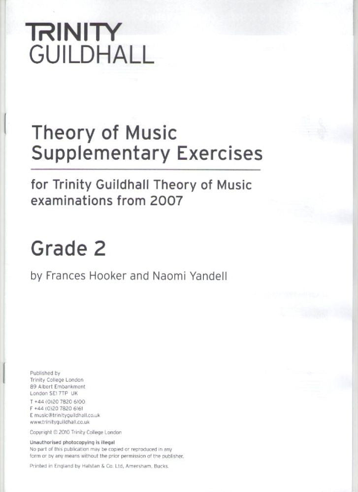 Trinity Guildhall Supplementary Theory Exercises Grade 2 – Piano Traders
