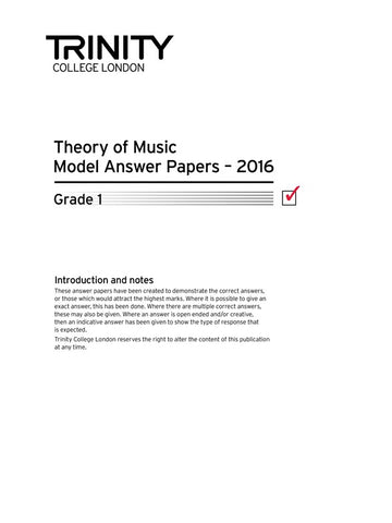Trinity College Theory Papers 2016 Grade 1 - Model Answers