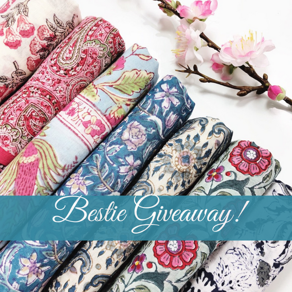 ** Closed** It is a BESTIE Giveaway! Win a Block-Print Scarf for You and Your Bestie!
