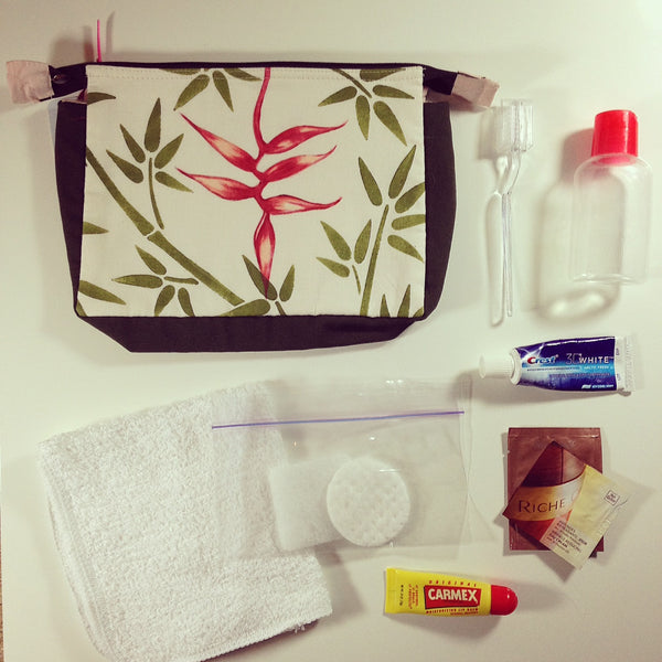 Travel Essentials, Costa Rica Hand painted bag, inflight refresher kit