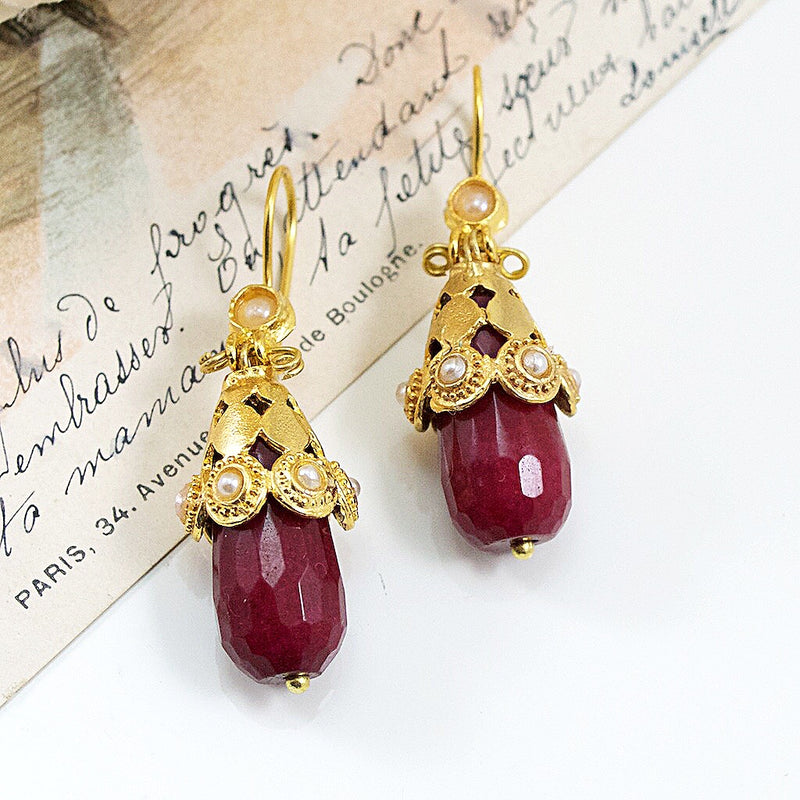 Ottoman Inspired Red Drop Earrings