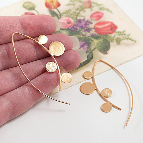 Chic Geometric Rose Gold Plated Silver Earrings