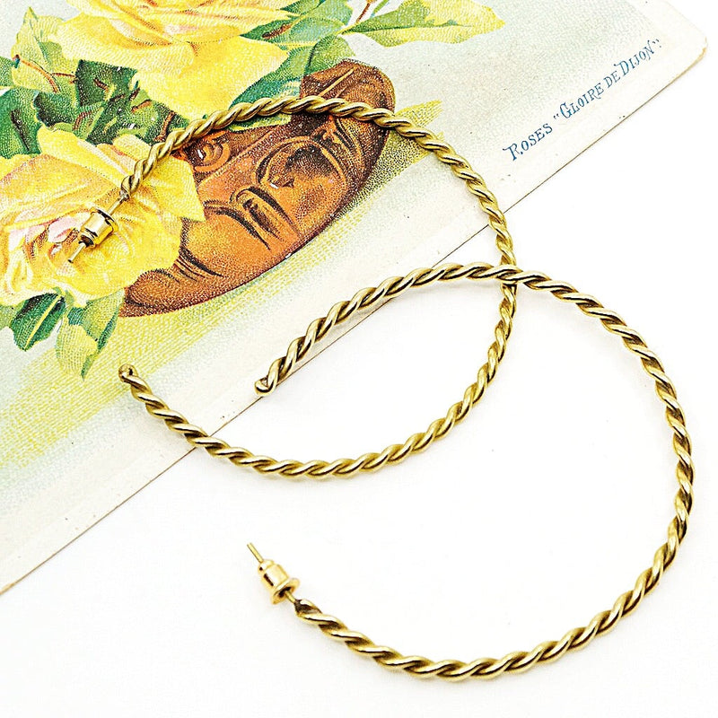 Brass Braided Hoop Earrings - Large
