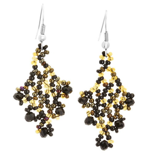 Hand Beaded Earrings - Shimmering Black and Gold