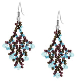 Hand Beaded Earrings - Blue