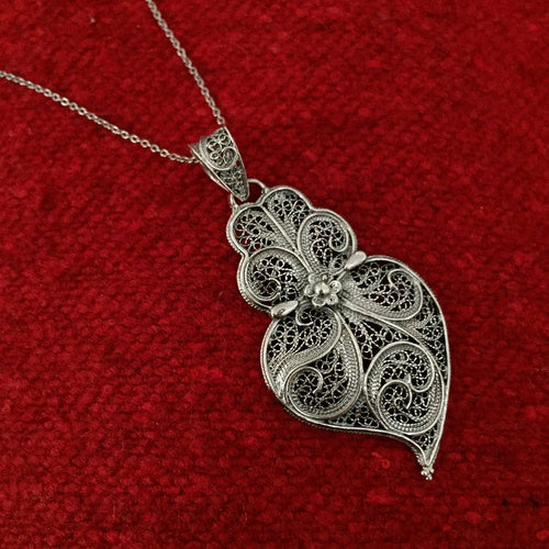 Sterling Silver Heart Shaped Filigree Pendant Necklace