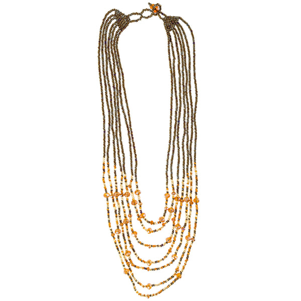 Hand Beaded Necklace - Shimmering Golden Browns