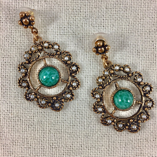 Green Accent Medallion Earrings