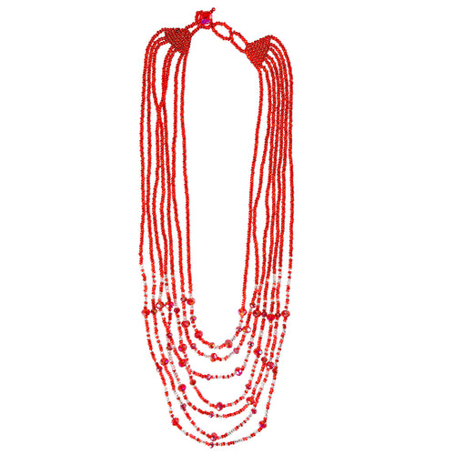 Hand Beaded Necklace - Shimmering Red and Crystal