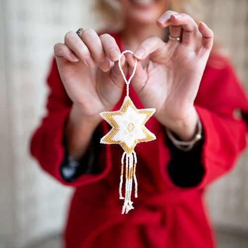 Hand Beaded Star Ornament - Silver and Gold