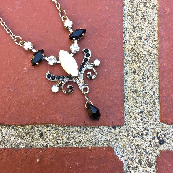 Moonstone and Onyx Drop Necklace by AMARO