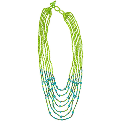 Hand Beaded Necklace - Shimmering Green and Blue