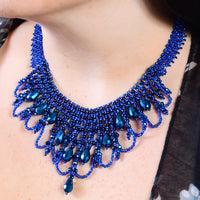 Bib Hand Beaded Necklace - Shimmering Dark Blue