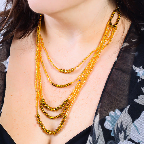Hand Beaded Necklace - Golden Five Strand