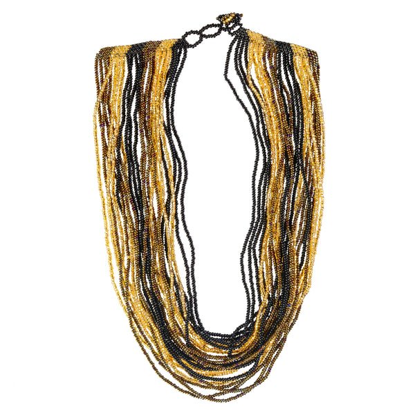 Hand Beaded Necklace - 24 Strand Golden and Black