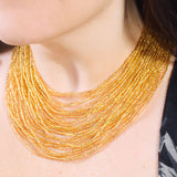 Hand Beaded Necklace - 24 Strand Golden