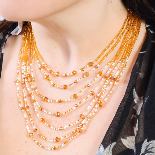 Hand Beaded Necklace - Shimmering Gold and Crystal