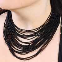 Hand Beaded Necklace - 24 Strand Matte Black