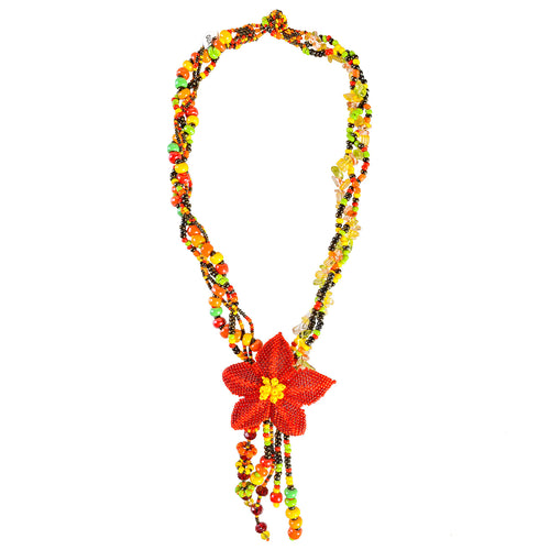 Hand Beaded Necklace - Drop Flower