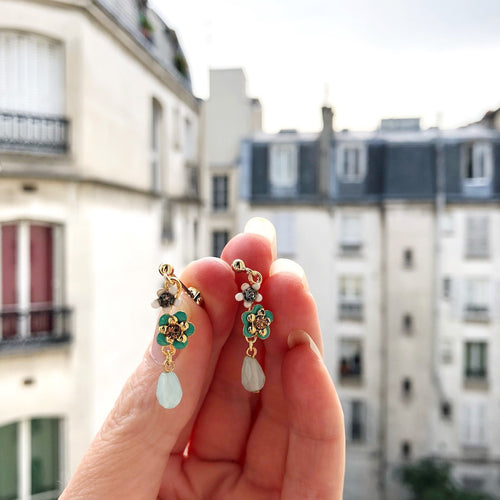 Drop Flower Post Earrings by Eric et Lydie - Blue