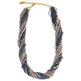 Murano Handblown Glass Bead Necklace - Grey