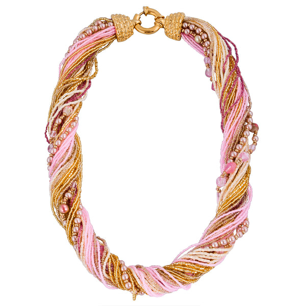Murano Handblown Glass Bead Necklace - Soft Pink