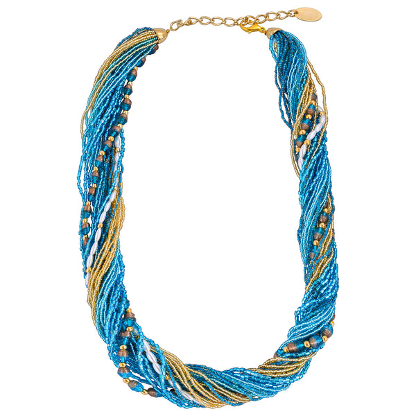 Murano Handblown Glass Bead Necklace - Blue