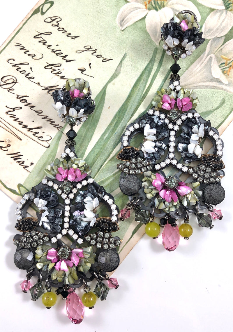 Pink and Black Mother of Pearl and Swarovski Pendant Earrings by DUBLOS
