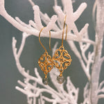 Gold Plated Silver Filigree Earrings with Rainbow Moon Stone