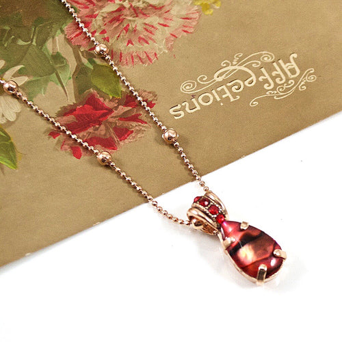 Red Mother of Pearl Pendant Necklace by AMARO